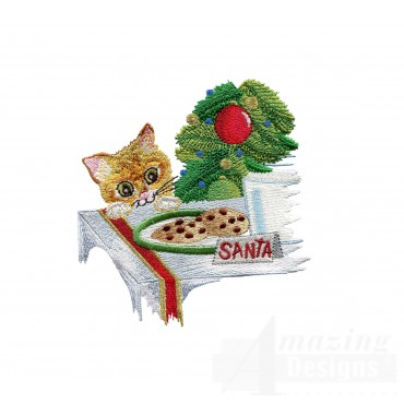 Hungry Kitty Embroidery Design