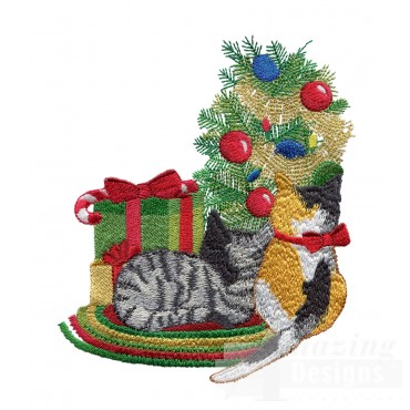 Christmas Kitties Embroidery Design