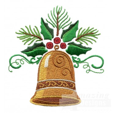 Holly And Christmas Bell Embroidery Design