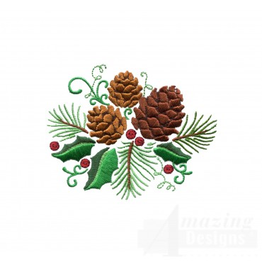 Pine Cones And Holly Embroidery Design