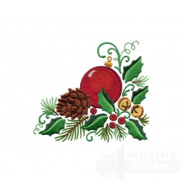 Ornament Holly And Pine Cone Embroidery Design