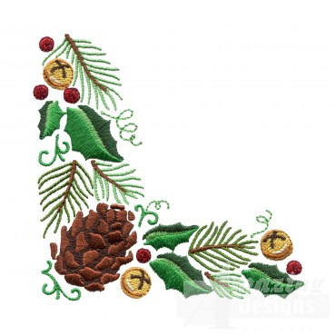 Holly And Pine Cone Corner Embroidery Design