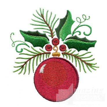Holly And Ornament Embroidery Design