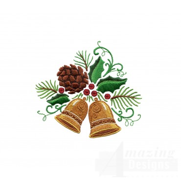 Bells Holly And Pine Cone Embroidery Design