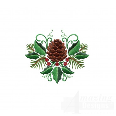 Pine Cone And Holly Embroidery Design