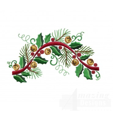 Holly Ribbon And Bells Embroidery Design