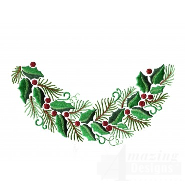 Holly And Pine Bough Embroidery Design
