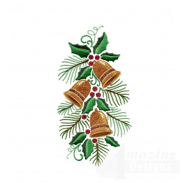 Bells Pine And Holly Embroidery Design