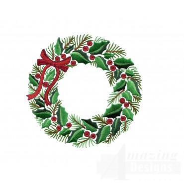 Holly And Pine Wreath Embroidery Design