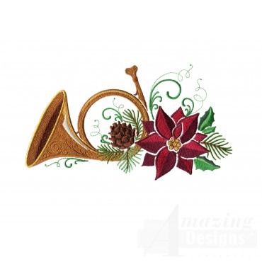 Horn Poinsettia And Holly Embroidery Design