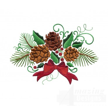 Pine Cone Holly And Ribbon Embroidery Design
