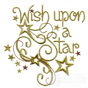 Metallic Gold Wish Upon A Star Embroidery Design