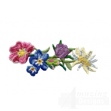 Flowery Crewel Flower Grouping Embroidery Design