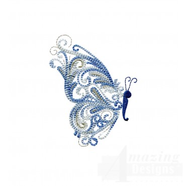 Side Profile Fanciful Butterfly Embroidery Design