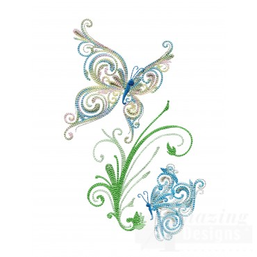 Fanciful Butterflies With Scroll Embroidery Design