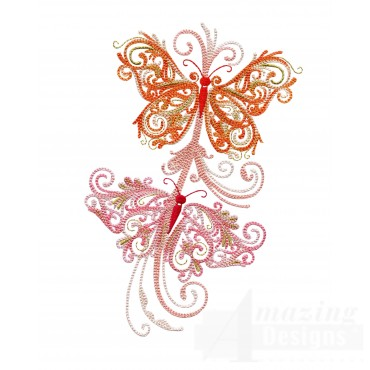 Full Winged Fanciful Butterfly Embroidery Design