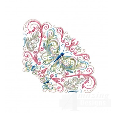 Fanciful Butterfly Grouping Embroidery Design