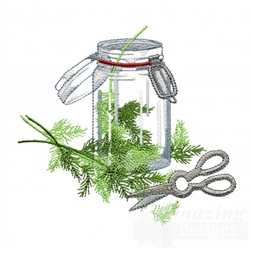 Trimmed Dill Herb Embroidery Design