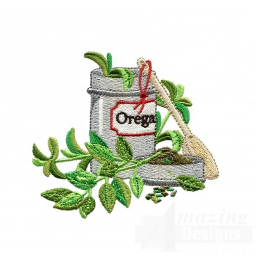 Oregano Herb Tin Embroidery Design