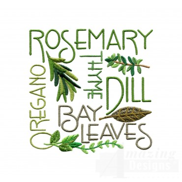 Herb Word Grouping Embroidery Design