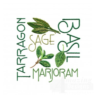 Herb Words Grouping Embroidery Design