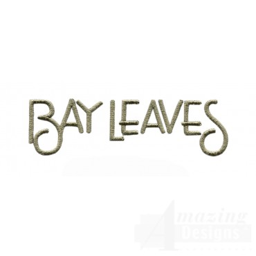 Bay Leaves Word Embroidery Design