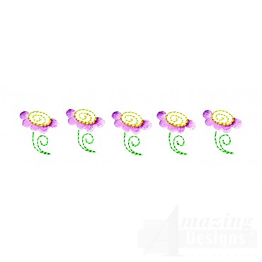 Line Of Flowers Embroidery Design