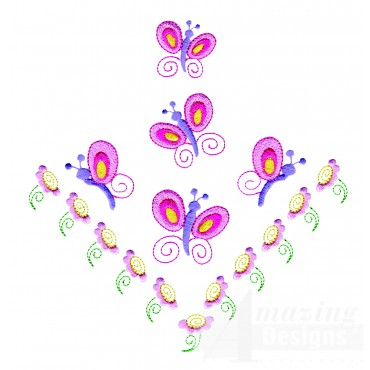 Butterflies And Flowers  Corner Embroidery Design
