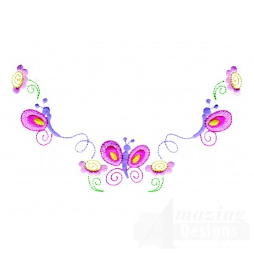 Flowers And Butterflies Neckline Embroidery Design