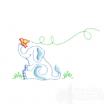 Sitting Elephant Embroidery Design And Bird
