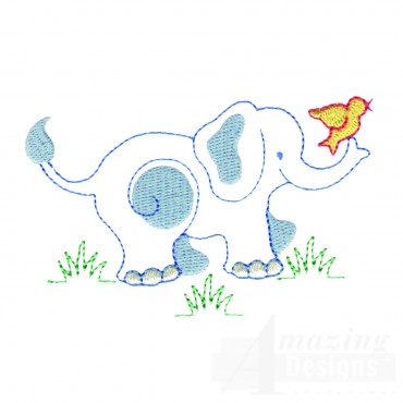 Elephant And Bird Embroidery Design