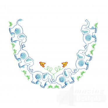 Elephant Neckline Embroidery Design