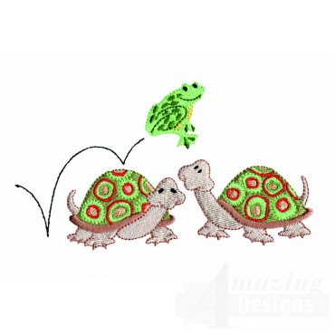 Hopping Frog And Turtles Embroidery Design