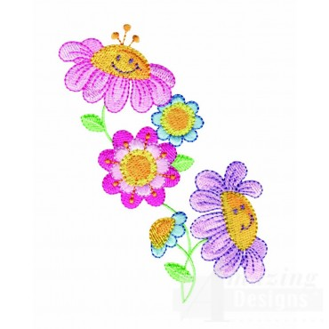 Happy Flowers Embroidery Design