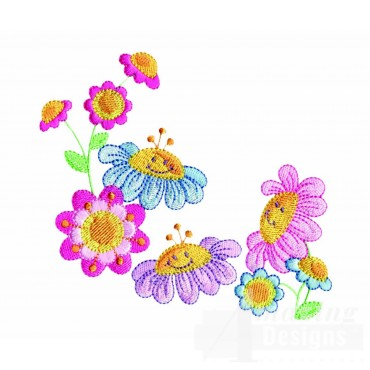 Happy Flower Corner Embroidery Design