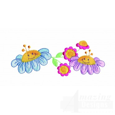 Happy Flower Line Embroidery Design