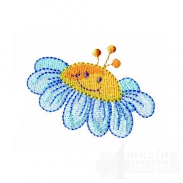 Happy Blue Flower Embroidery Design