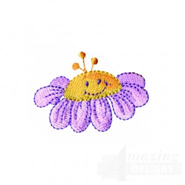 Happy Purple Flower Embroidery Design