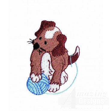 Puppy And Yarn Embroidery Design