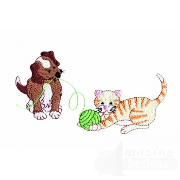 Playing Puppy And Kitty Embroidery Design