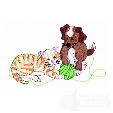 Playing Kitty And Puppy Embroidery Design