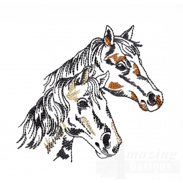 Prairie Horse Pair Embroidery Design