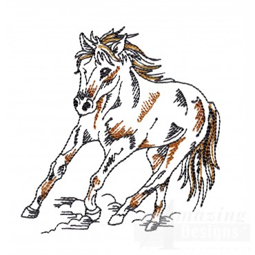 Galloping Prairie Horse Embroidery Design