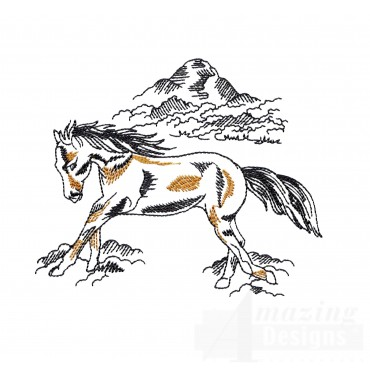 Free Running Prairie Horse Embroidery Design