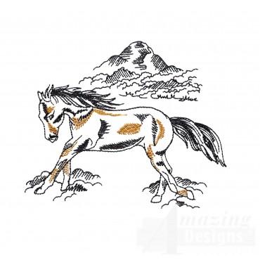 Free Running Prairie Horse Embroidery Design