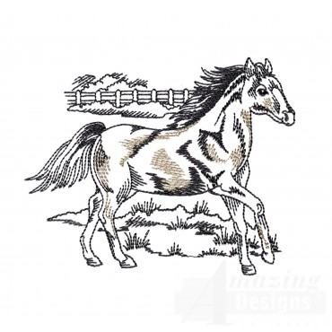 Comfortable Prairie Horse Embroidery Design