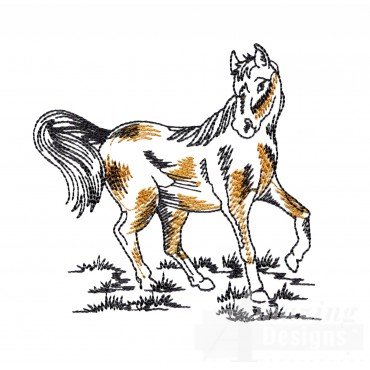 Spirited Prairie Horse Embroidery Design