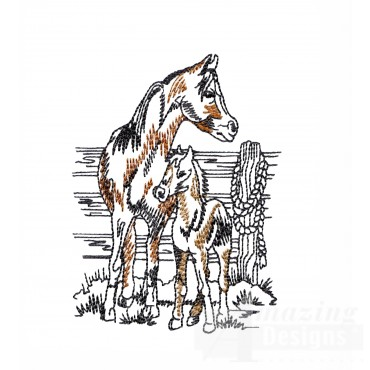 Mom And Colt Prairie Horse Embroidery Design