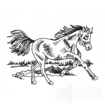Running Prairie Horse Embroidery Design
