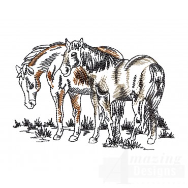Feeding Prairie Horse Embroidery Design